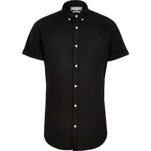 Black casual slim fit Oxford shirt
