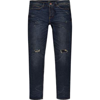 Sid dark wash grunge skinny jeans