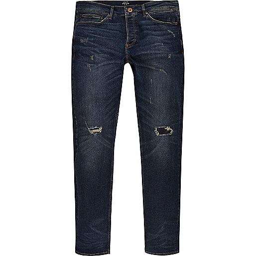 Dark wash grunge Sid skinny jeans