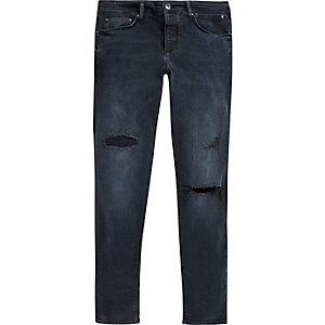 Donkerblauwe wash ripped Sid skinny jeans