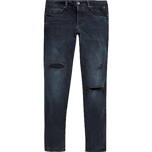 Dark blue wash ripped Sid skinny jeans