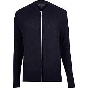Navy textured knit bomber jacket
