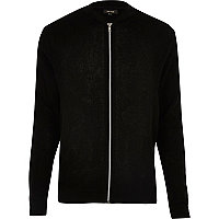Black textured knit bomber jacket