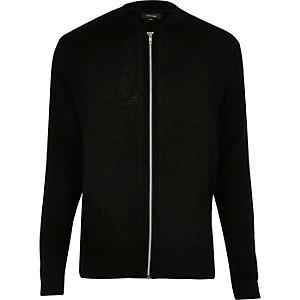 Black textured knit bomber jacket
