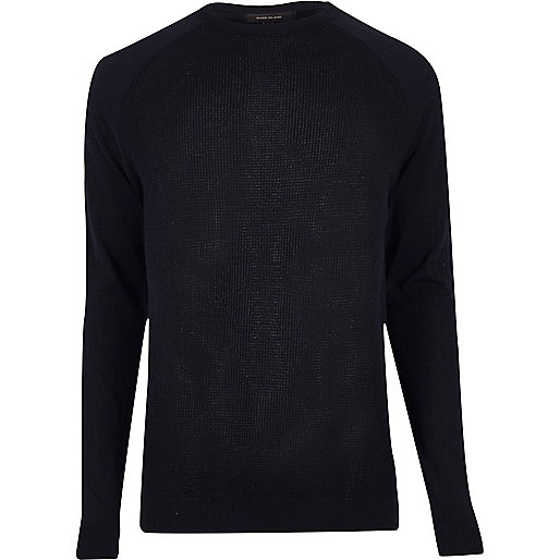 Navy mesh front sweater
