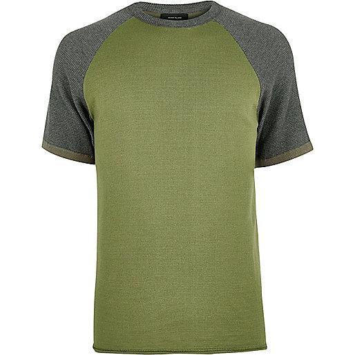 Khaki contrast knitted T-shirt