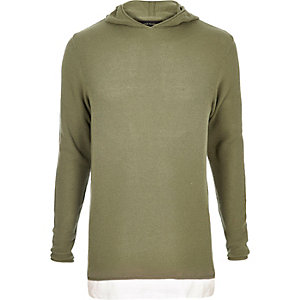 Light green layered longline hoodie