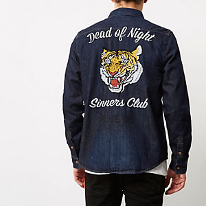 Blue tiger embroidery casual denim shirt