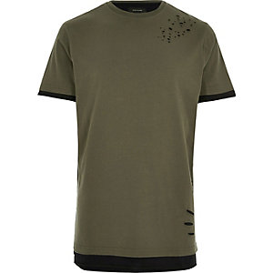 Khaki distressed longline T-shirt