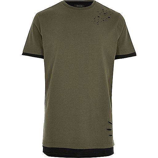 Khaki distressed longline T-shirt