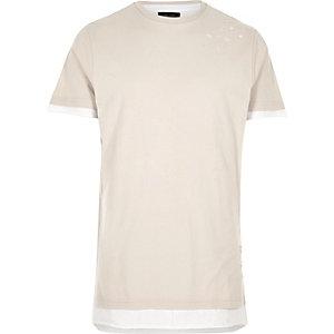 Ecru distressed lang T-shirt
