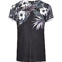 Black floral shoulder print T-shirt