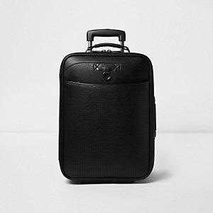 Zwarte koffer in leerlook met perforaties