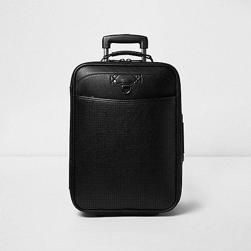 Valise en cuir synthétique noir perforé