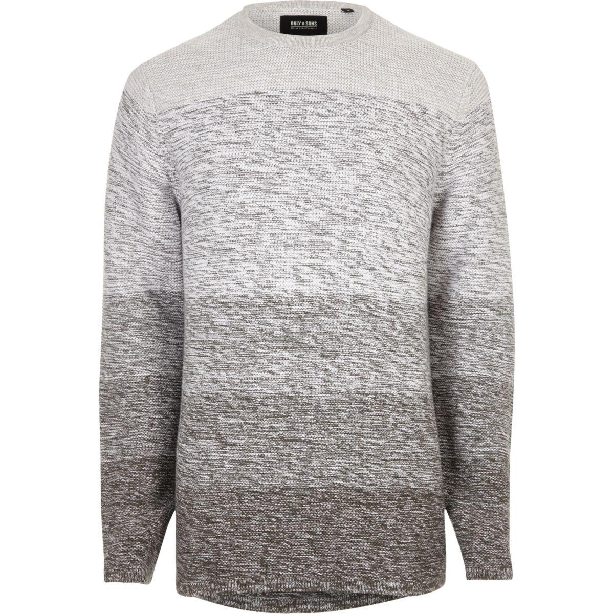 Grey Only & Sons stripe knit jumper