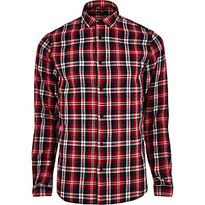 Only & Sons rood casual geruit overhemd