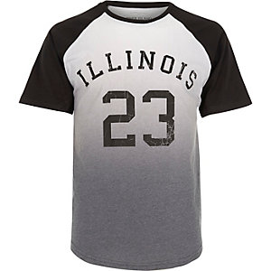 White 'Illinois' faded print T-shirt