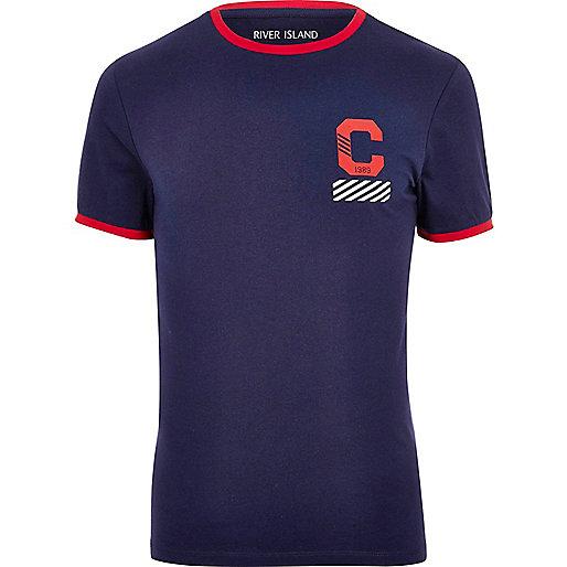 Marineblaues, figurbetontes T-Shirt