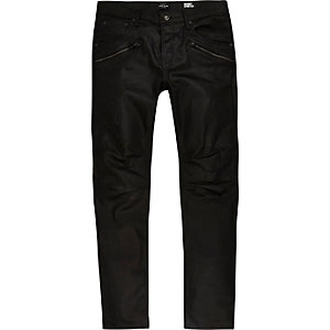 Jean skinny Sid noir enduit style motard