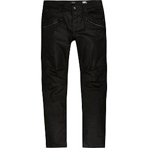 Sid - Zwarte skinny bikerjeans met coating
