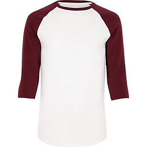 White and red muscle fit raglan T-shirt