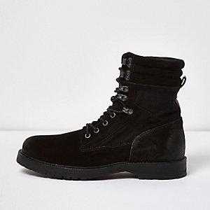 Black suede combat boots