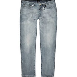 Dylan - Krijtachtig middenblauwe slim-fit jeans