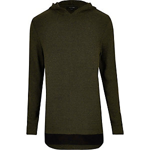 Dark green layered hoodie