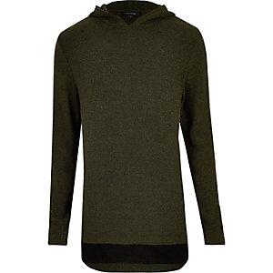 Dark green layered hoodie