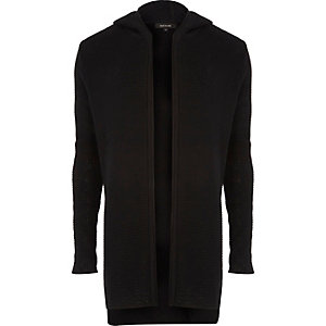 Black longline hooded cardigan