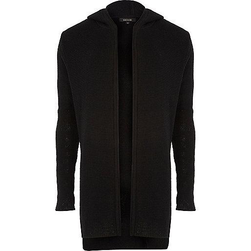 Cardigan long noir à capuche