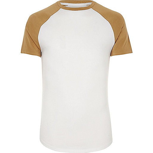 White and yellow muscle fit raglan T-shirt