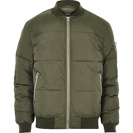 Green puffer jacket