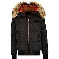 Black faux fur trim hooded puffer jacket