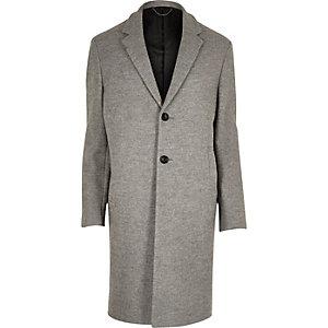 Grey textured wool blend overcoat