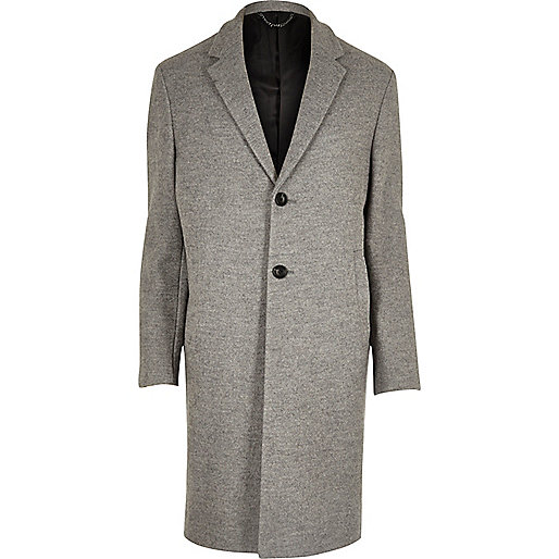 Grey textured wool blend overcoat