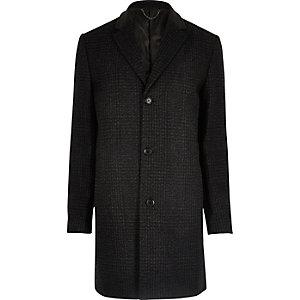 Dark grey check wool blend overcoat
