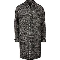 Grey herringbone oversized coat