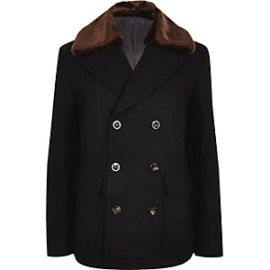 Navy faux fur collar wool blend peacoat