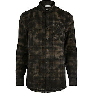 Black oil wash casual check shirt