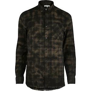 Zwart oil wash casual geruit overhemd