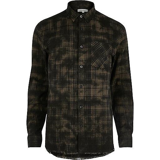 Black oil wash casual check shirt