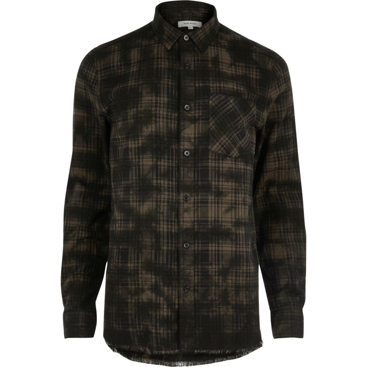 Chemise casual à carreaux noire enduite