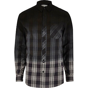 Blue dip dye check shirt
