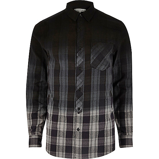 Blue dip dye check shirt