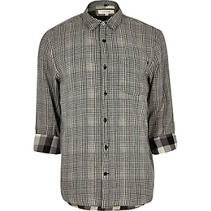 Black textured check shirt