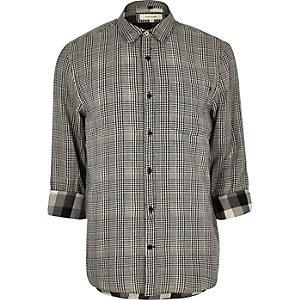 Chemise noire à carreaux texturée