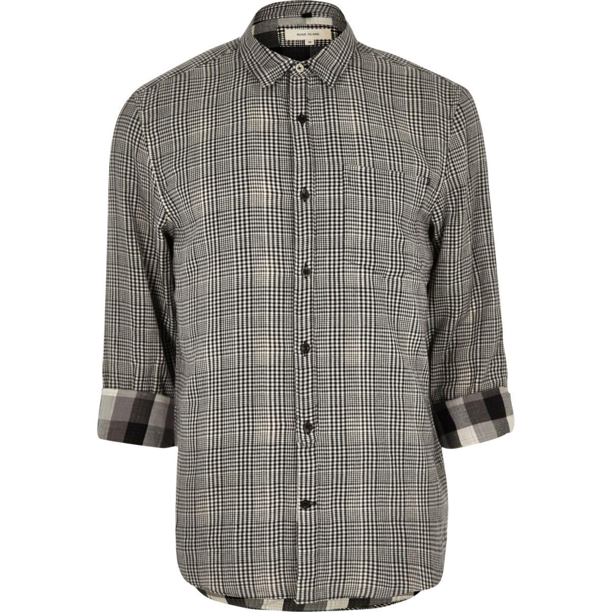 Black textured check shirt