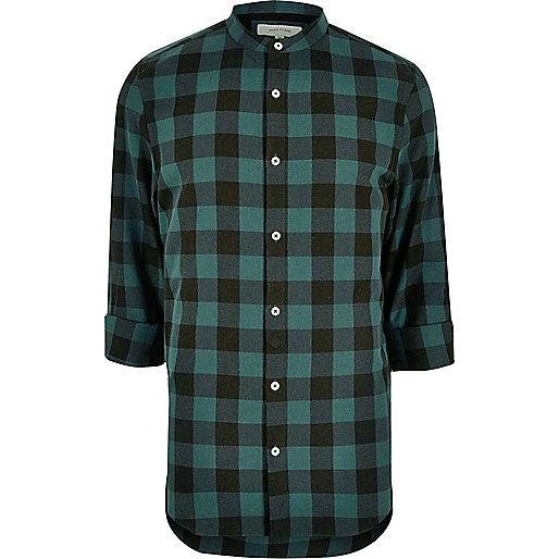 Teal casual check grandad shirt