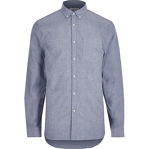 Blue casual flannel Oxford shirt
